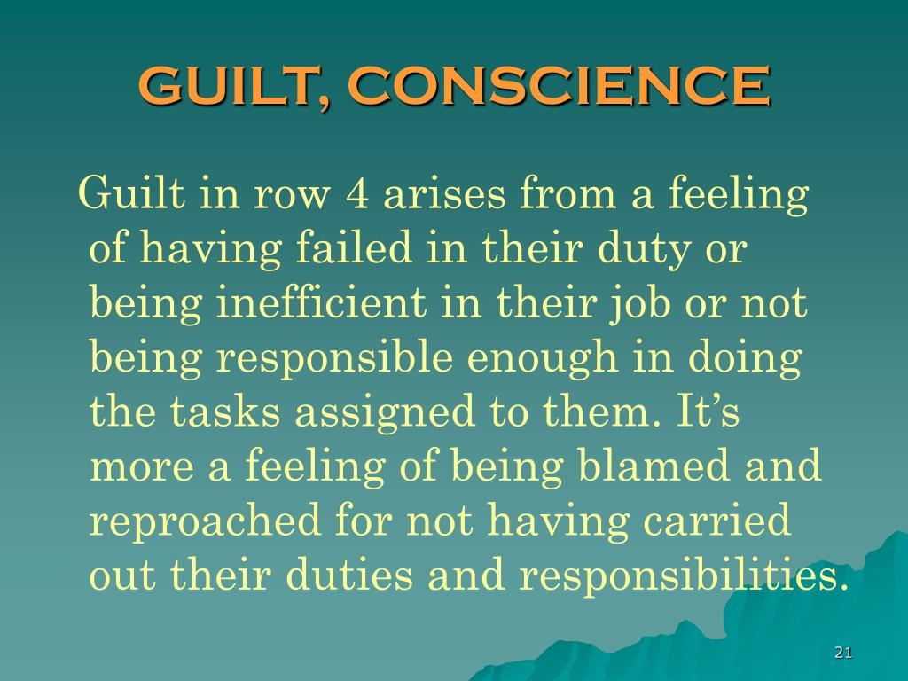 GUILT, CONSCIENCE