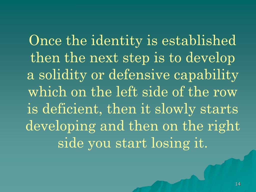 Once the identity is established then the next step is to develop a solidity or defensive capability which on the left side of the row is deficient, then it slowly starts developing and then on the right side you start losing it.