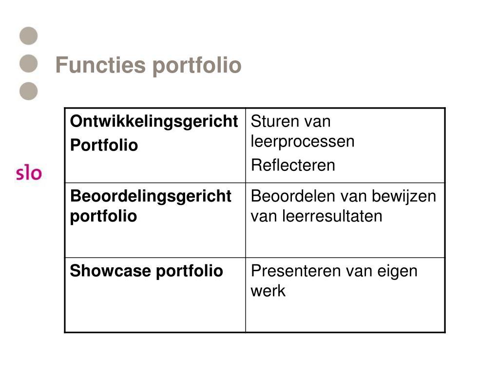 Functies portfolio
