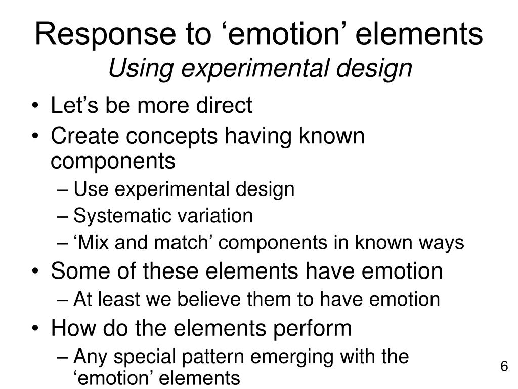 Response to 'emotion' elements