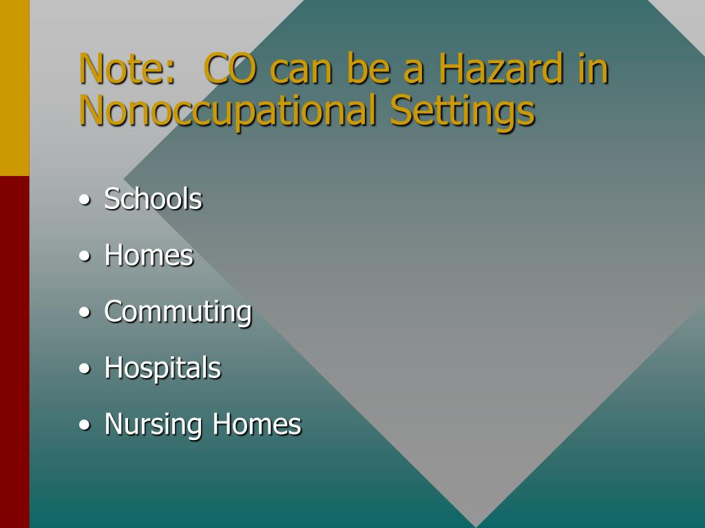 Note:  CO can be a Hazard in Nonoccupational Settings