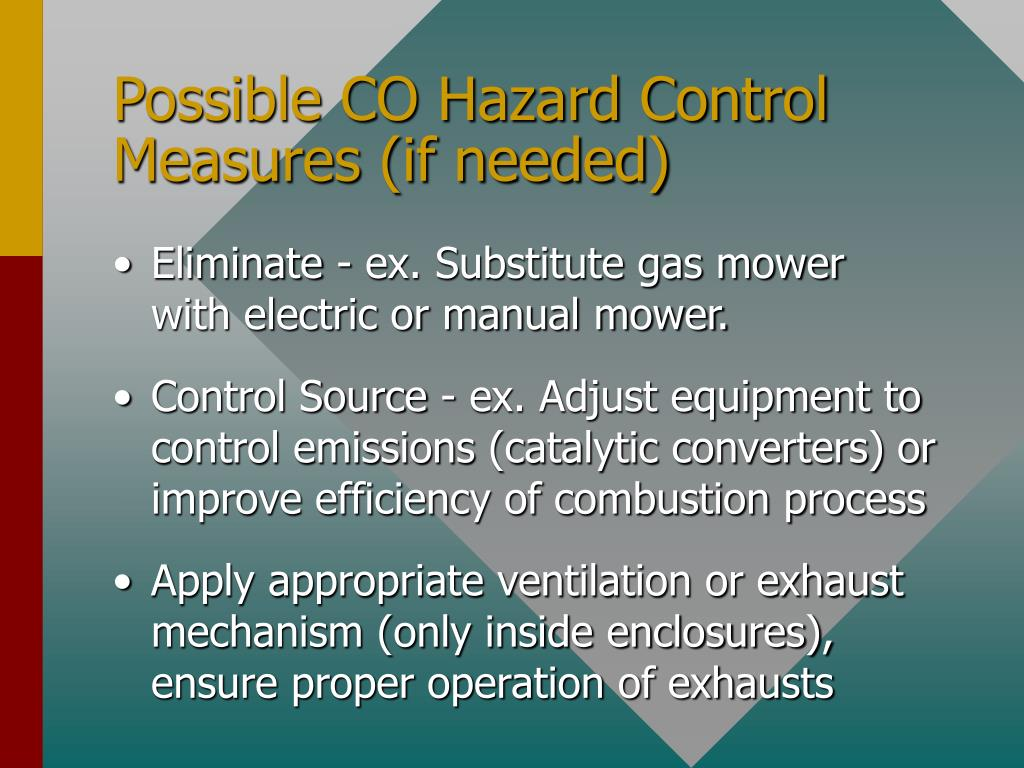 Possible CO Hazard Control Measures (if needed)