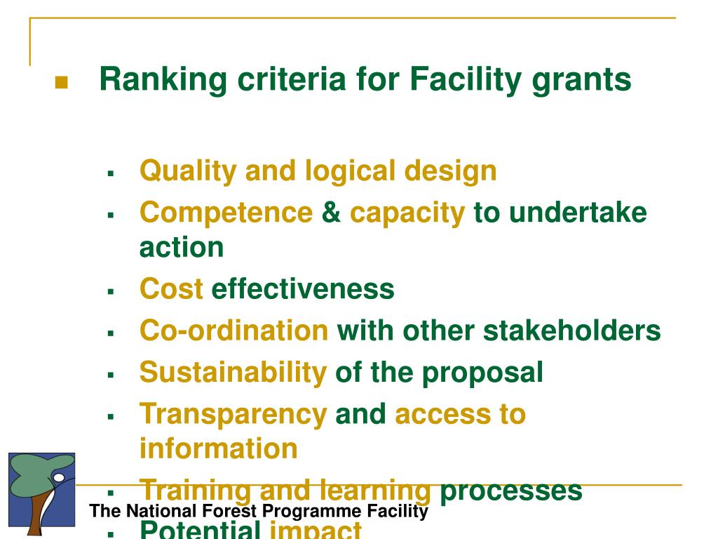 Ranking criteria for Facility grants