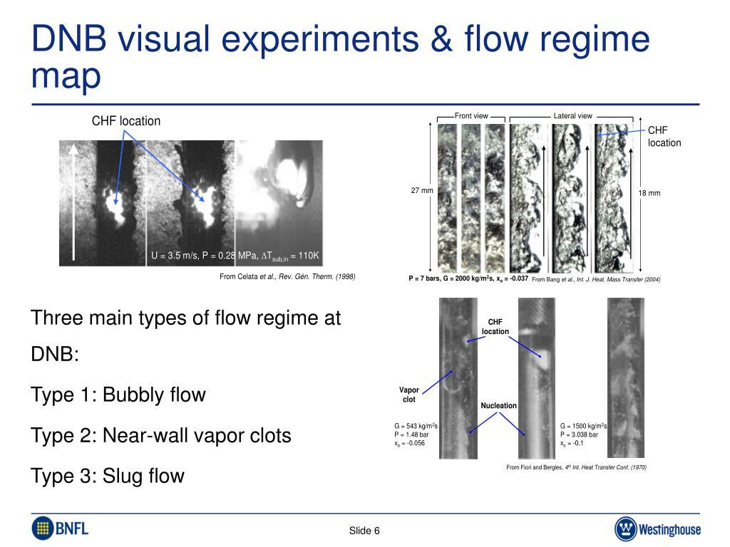 DNB visual experiments & flow regime map