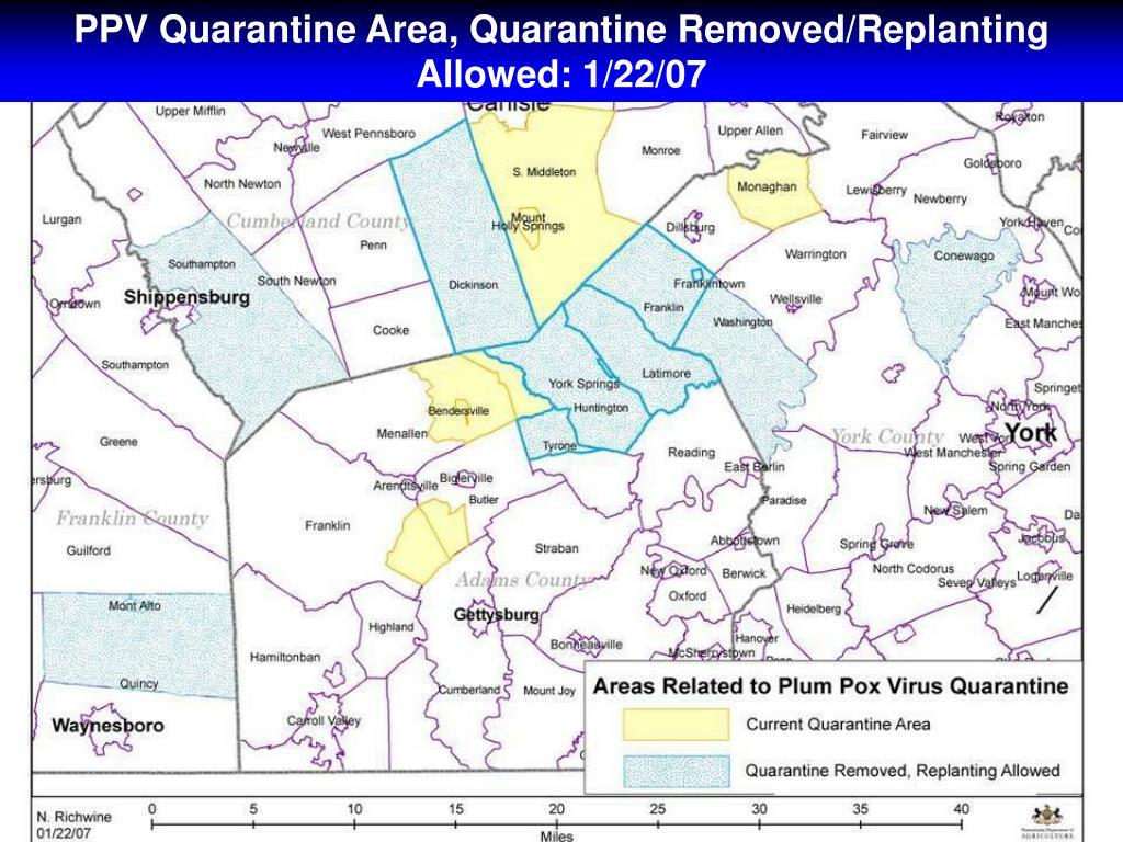 PPV Quarantine Area, Quarantine Removed/Replanting Allowed: 1/22/07
