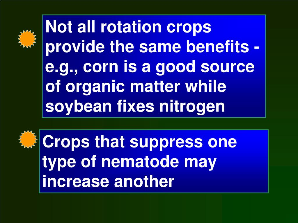 Not all rotation crops provide the same benefits - e.g., corn is a good source of organic matter while soybean fixes nitrogen