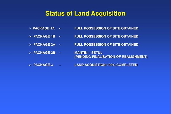 Status of Land Acquisition