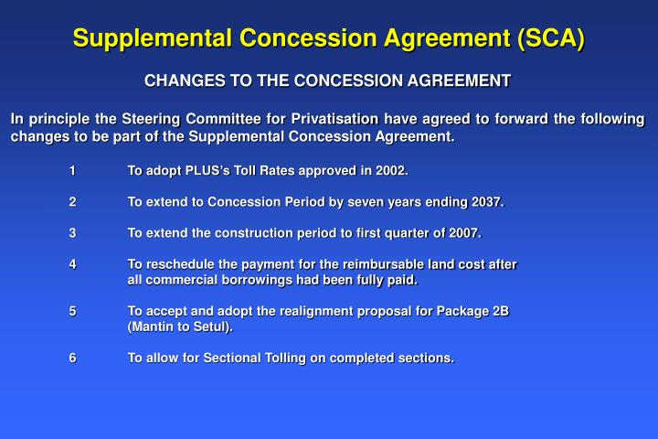 Supplemental Concession Agreement (SCA)