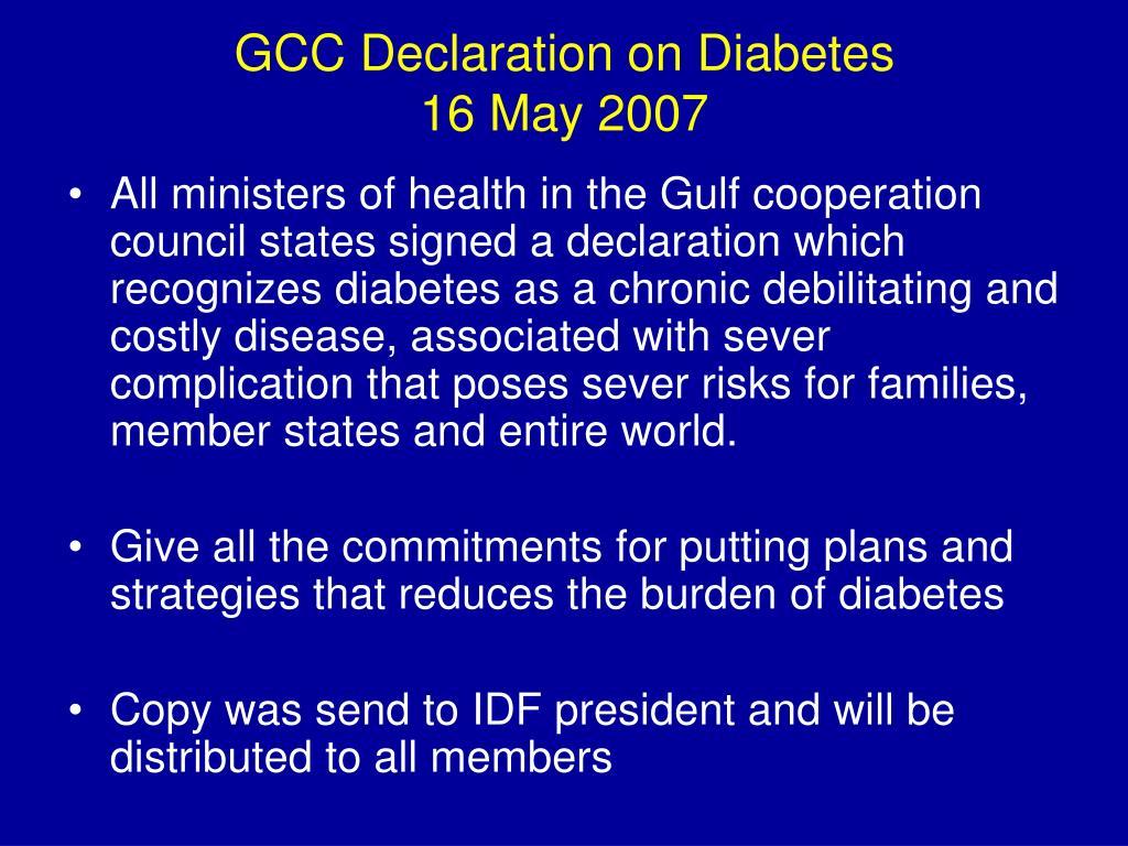 GCC Declaration on Diabetes