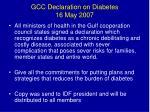 gcc declaration on diabetes 16 may 2007