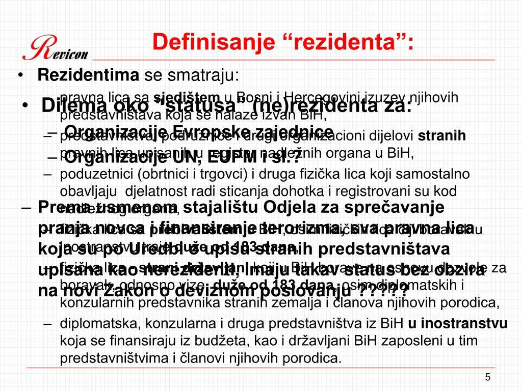 "Definisanje ""rezidenta"":"