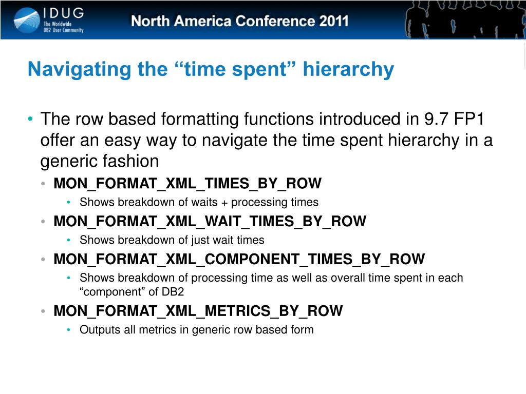 """Navigating the """"time spent"""" hierarchy"""