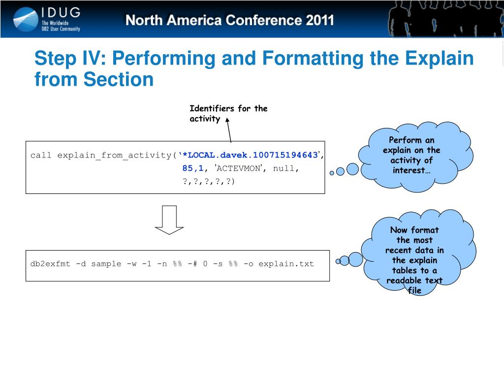 Step IV: Performing and Formatting the Explain from Section