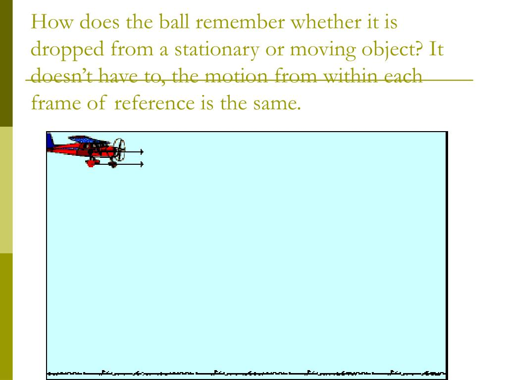 How does the ball remember whether it is dropped from a stationary or moving object? It doesn't have to, the motion from within each frame of reference is the same.