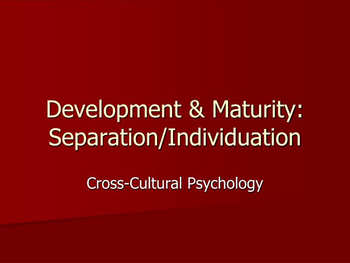 Development maturity separation individuation l.jpg