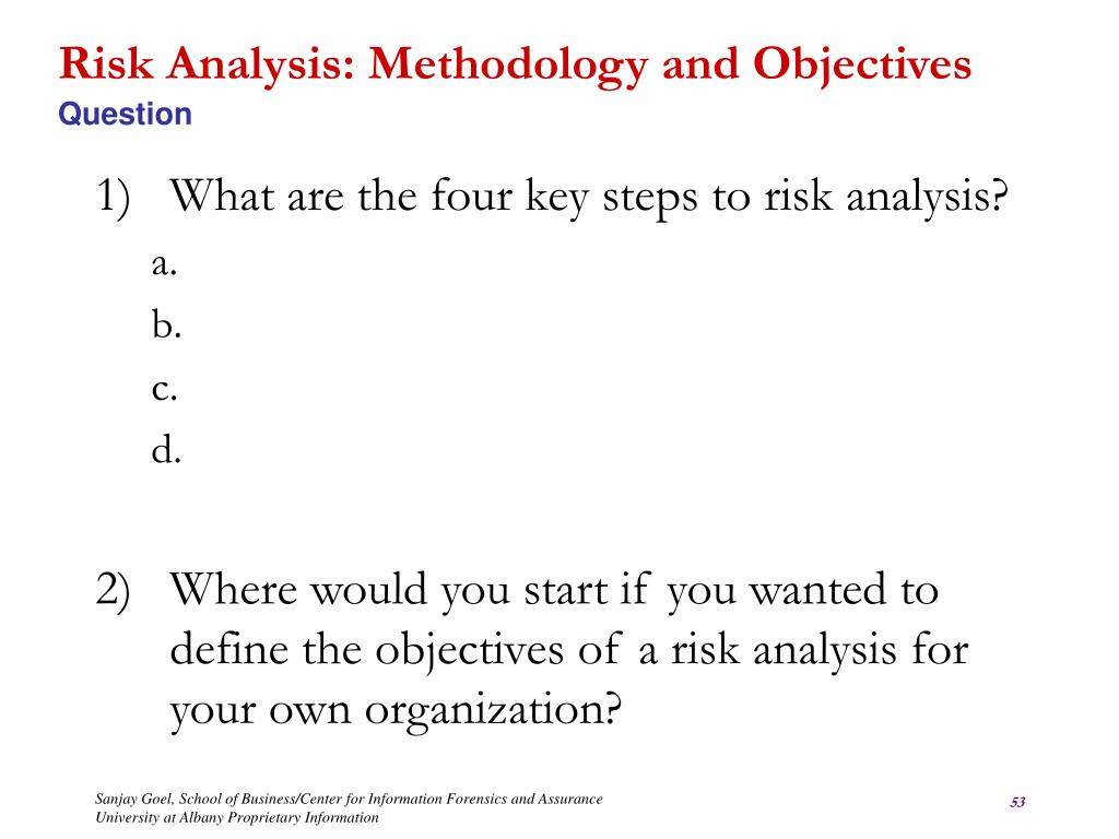 Risk Analysis: Methodology and Objectives