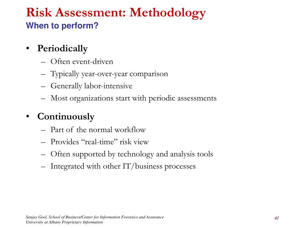 Risk Assessment: Methodology