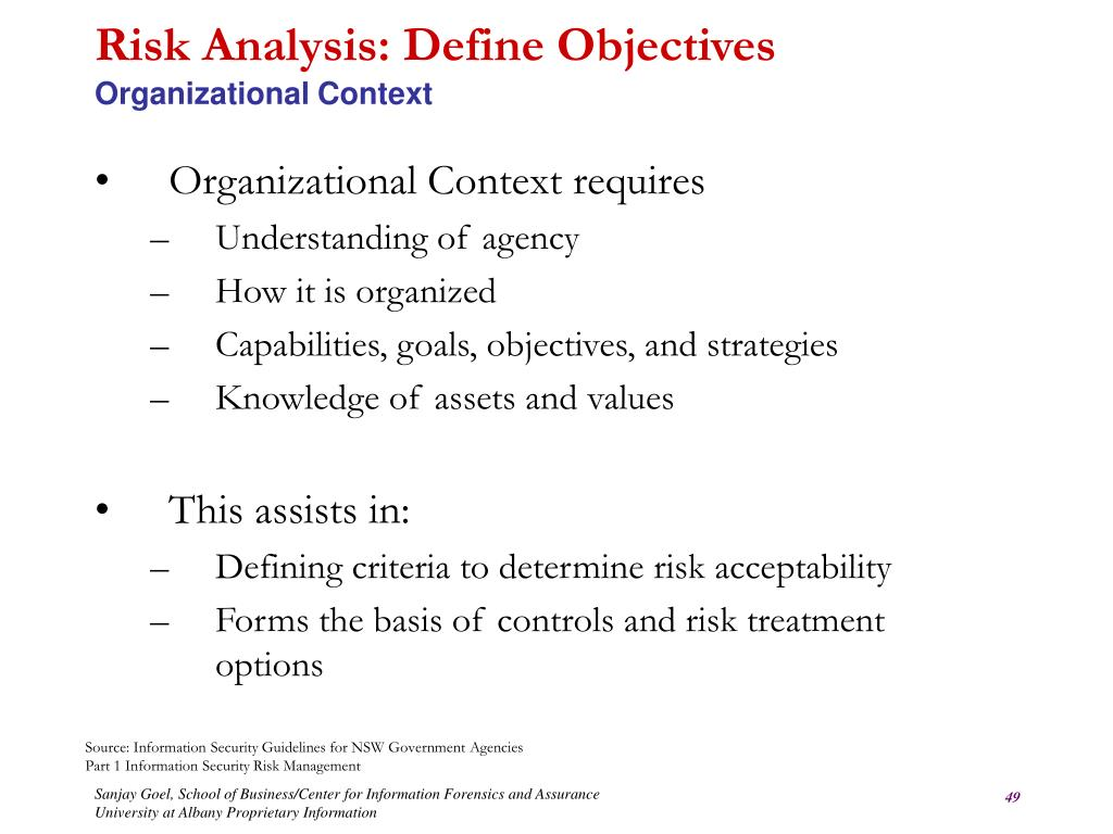 Risk Analysis: Define Objectives