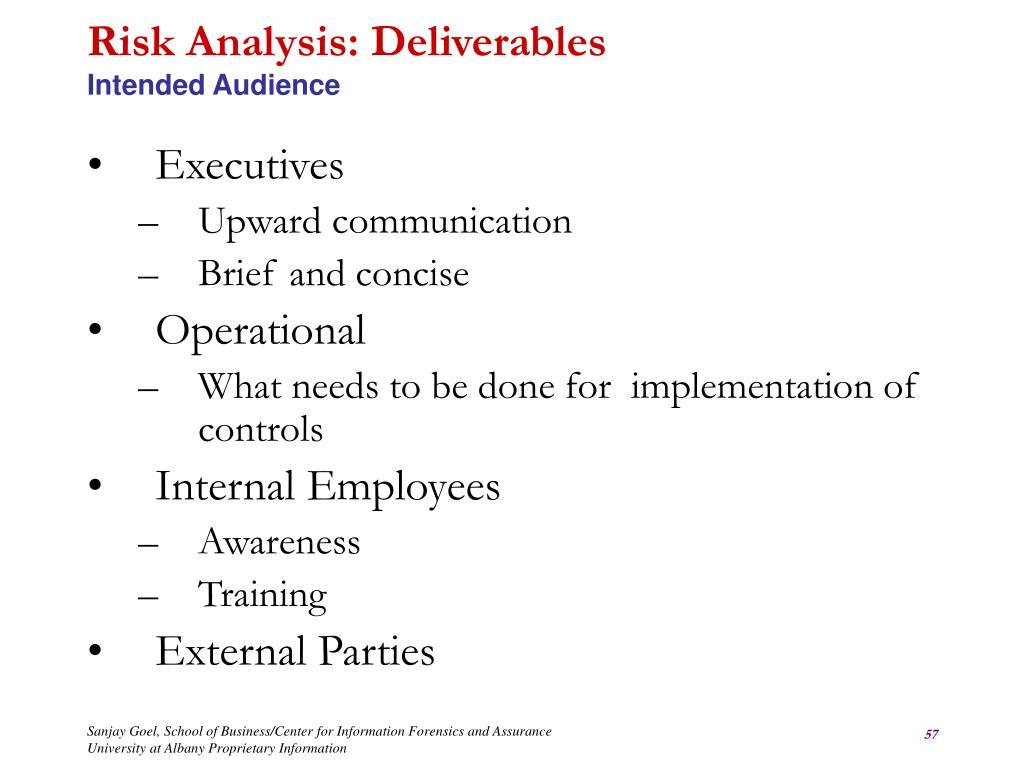 Risk Analysis: Deliverables