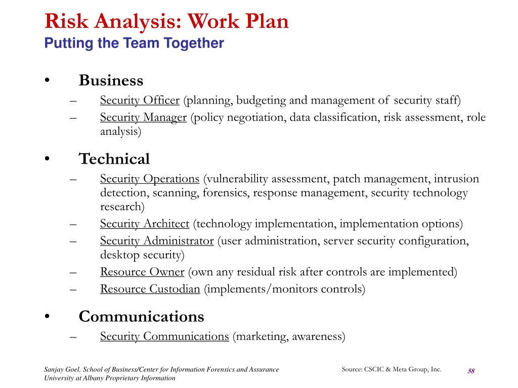 Risk Analysis: Work Plan