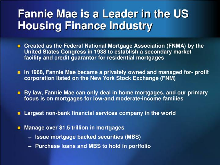 Fannie mae is a leader in the us housing finance industry