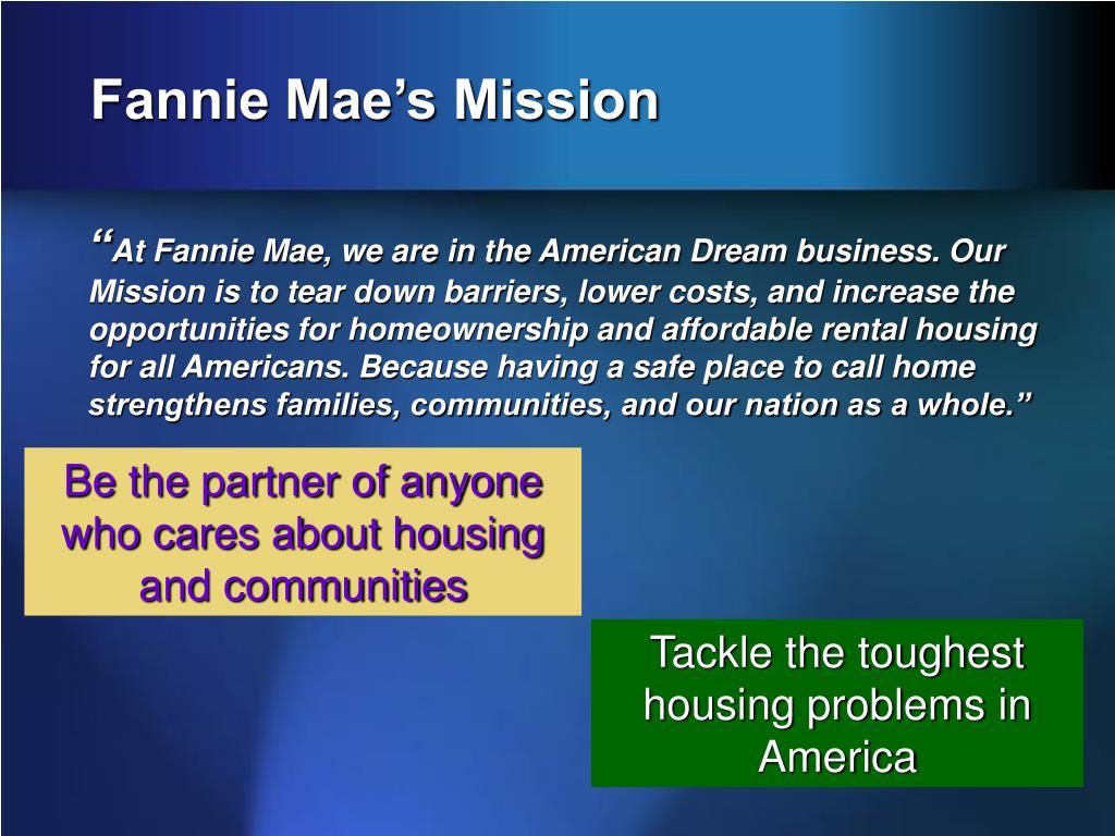Fannie Mae's Mission