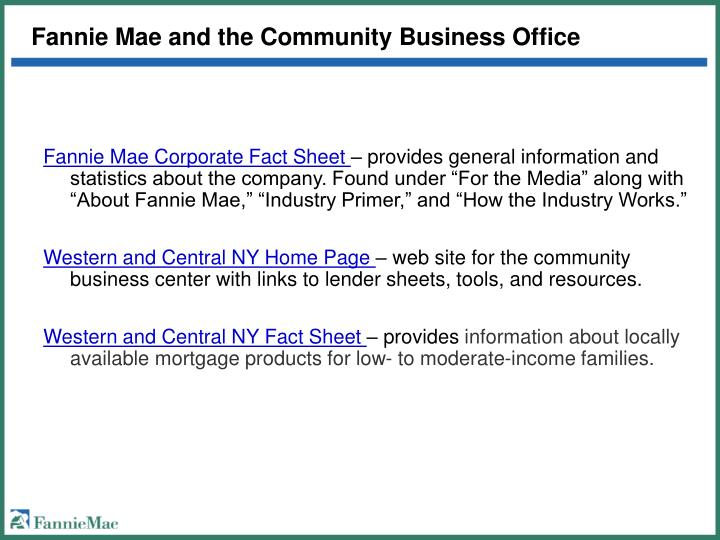 Fannie mae and the community business office