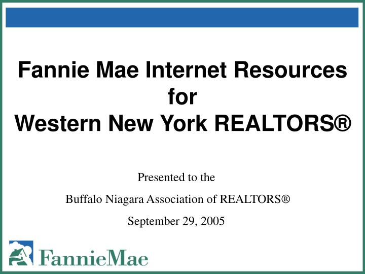 Fannie mae internet resources for western new york realtors