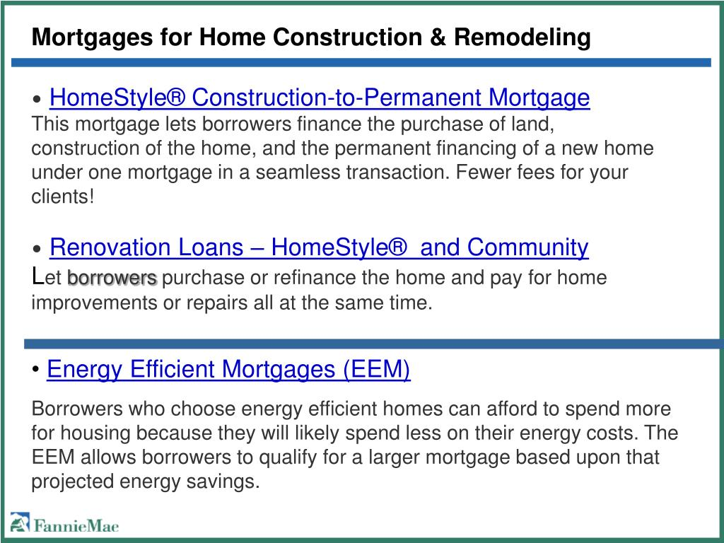 Mortgages for Home Construction & Remodeling