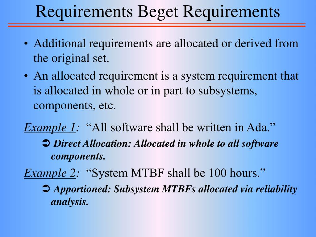 Requirements Beget Requirements
