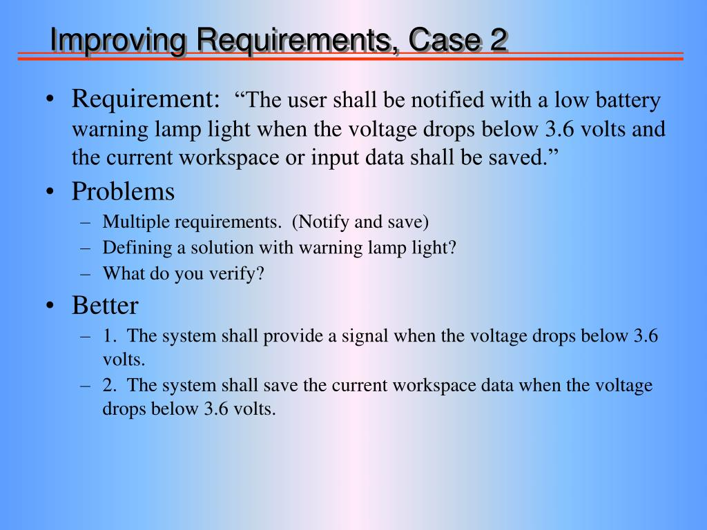 Improving Requirements, Case 2