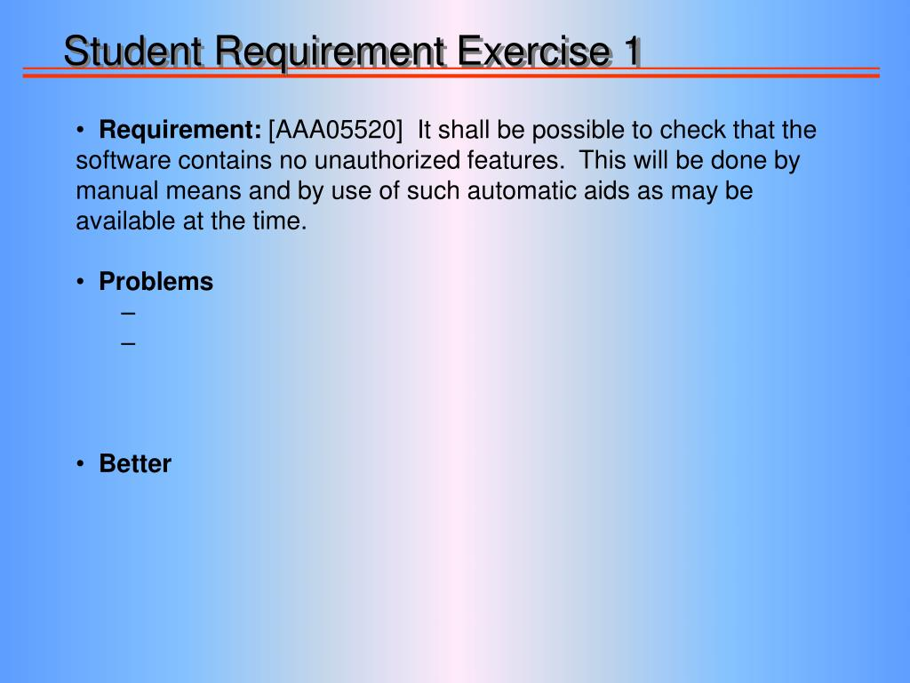 Student Requirement Exercise 1