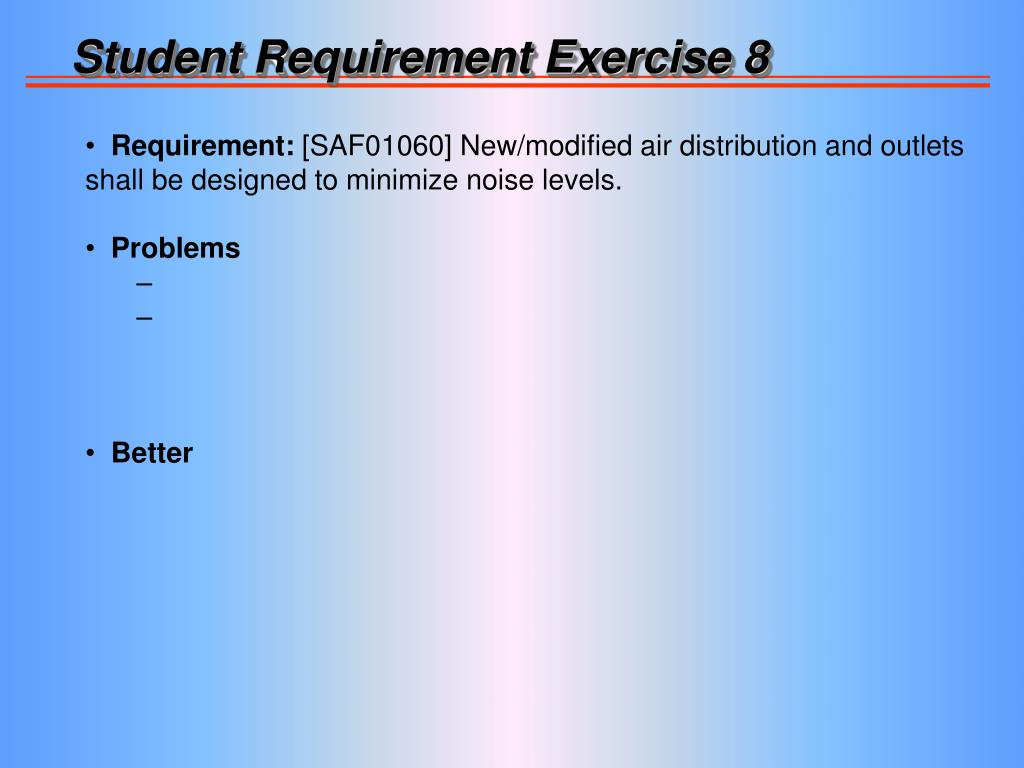 Student Requirement Exercise 8