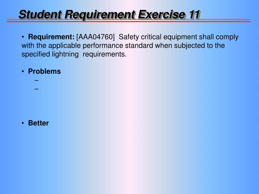 Student Requirement Exercise 11