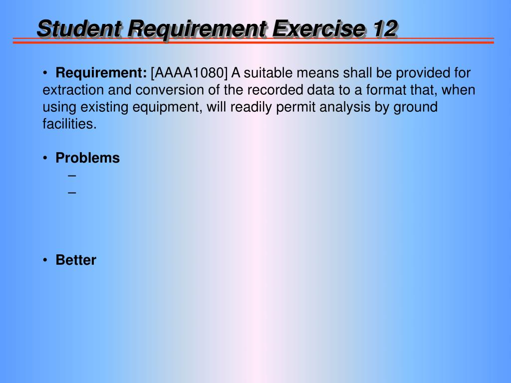 Student Requirement Exercise 12