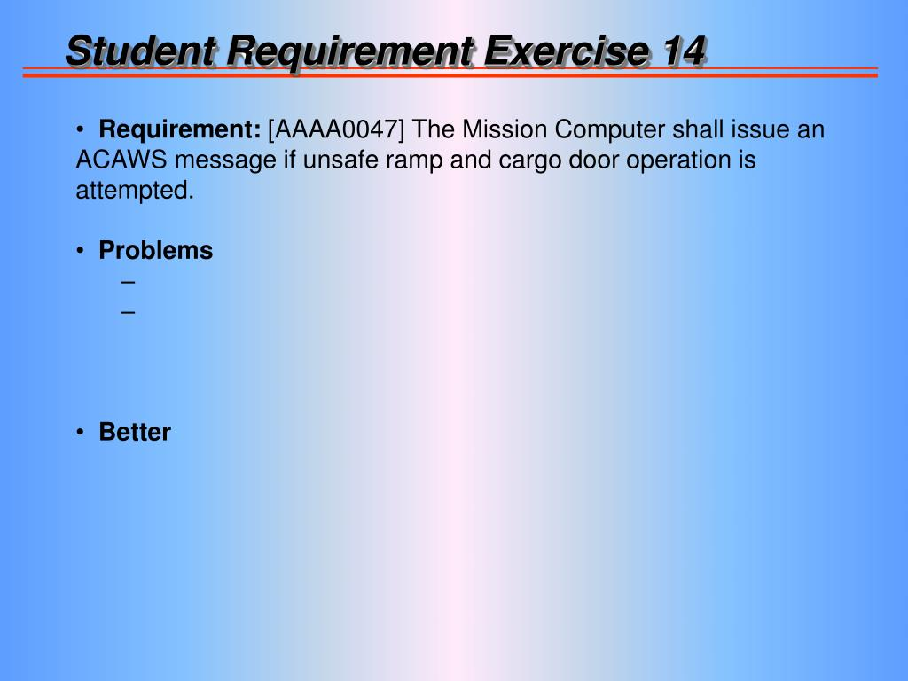 Student Requirement Exercise 14