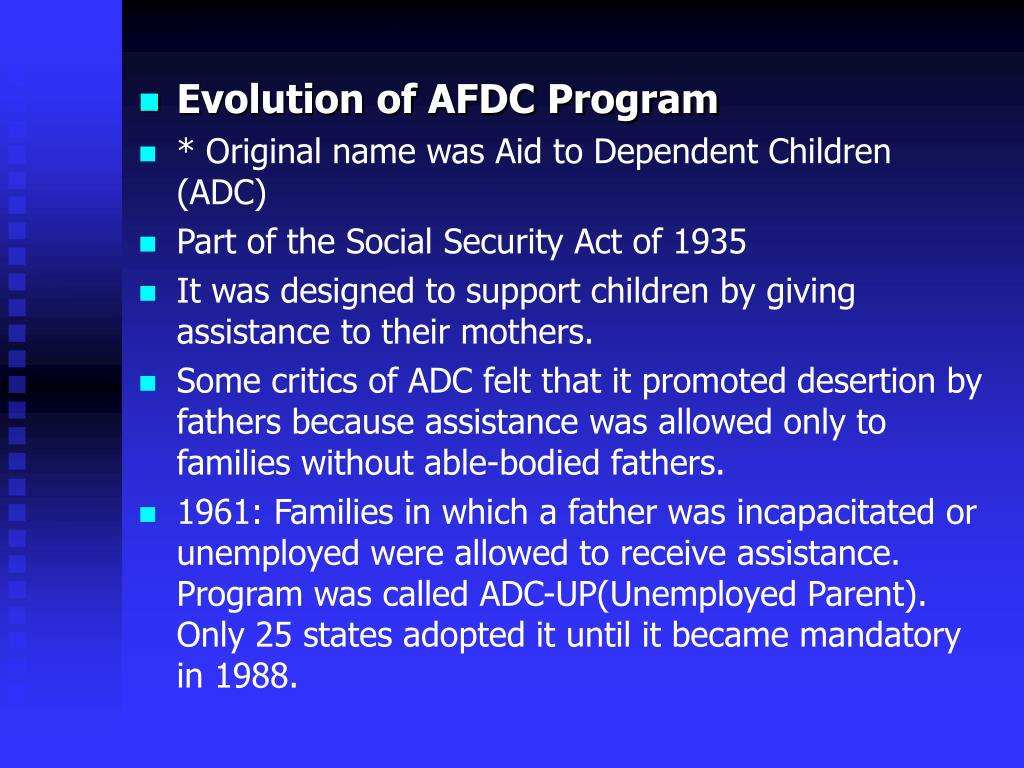 Evolution of AFDC Program