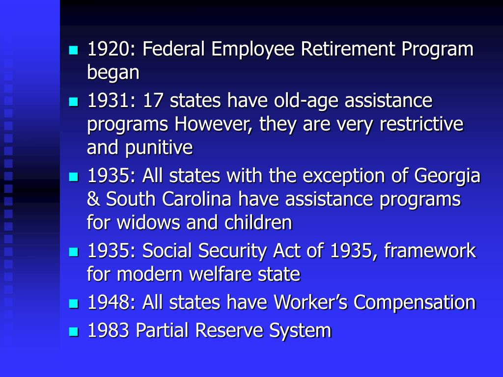 1920: Federal Employee Retirement Program began
