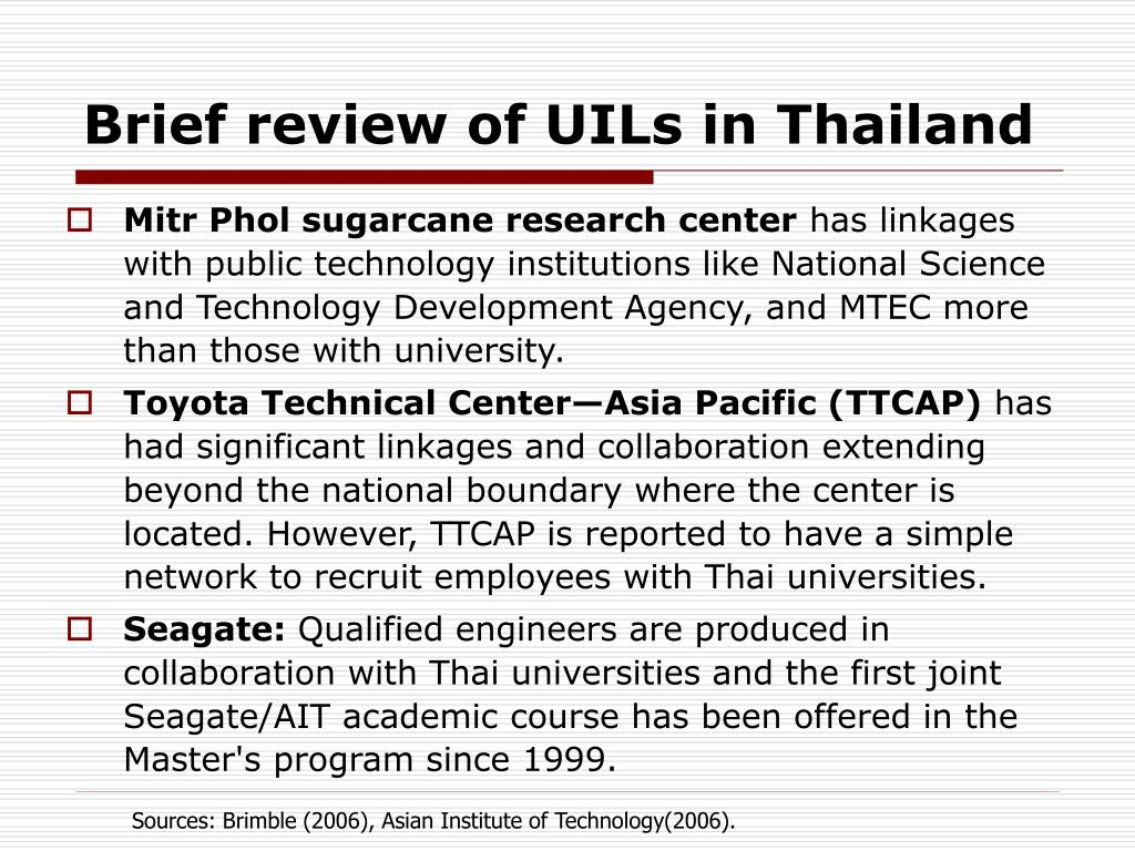 Brief review of UILs in Thailand