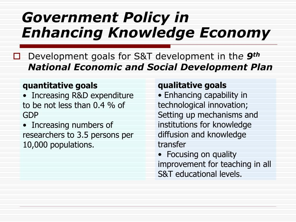 Government Policy in Enhancing Knowledge Economy