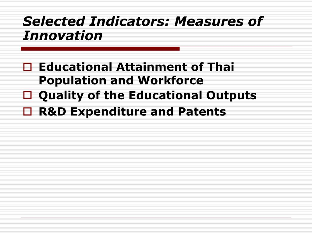 Selected Indicators: Measures of Innovation