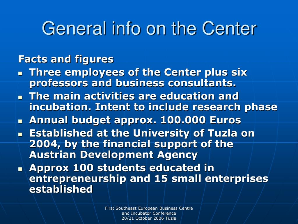 General info on the Center
