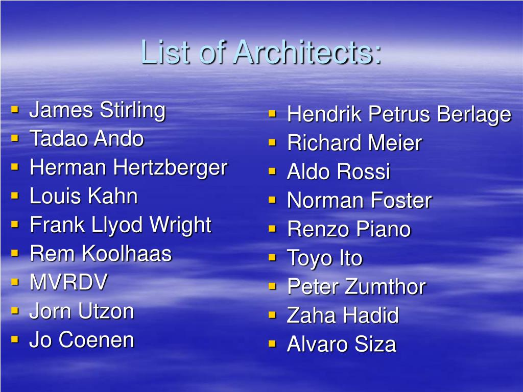 List of Architects: