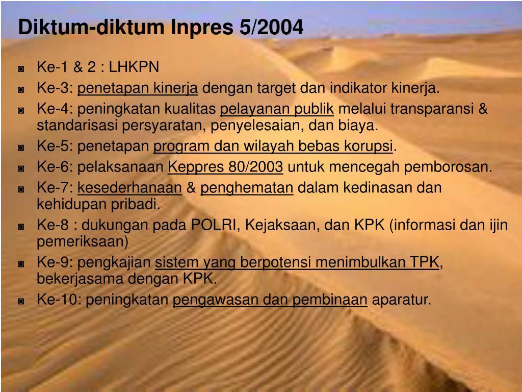 Diktum-diktum Inpres 5/2004