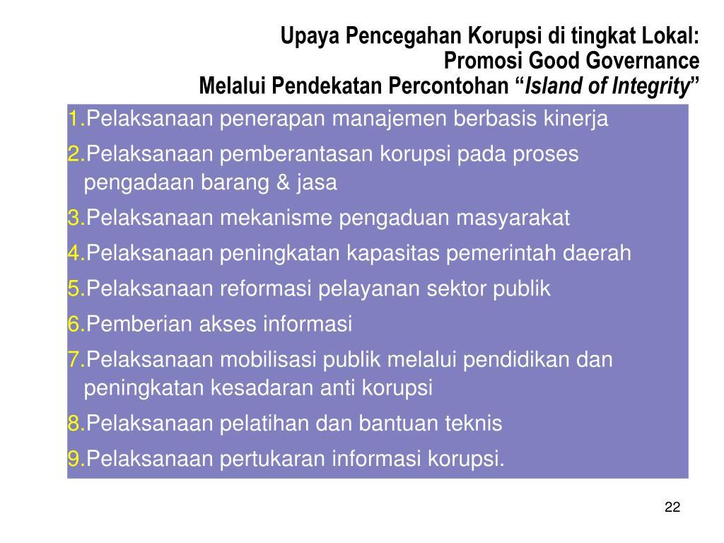 Upaya Pencegahan Korupsi di tingkat Lokal: