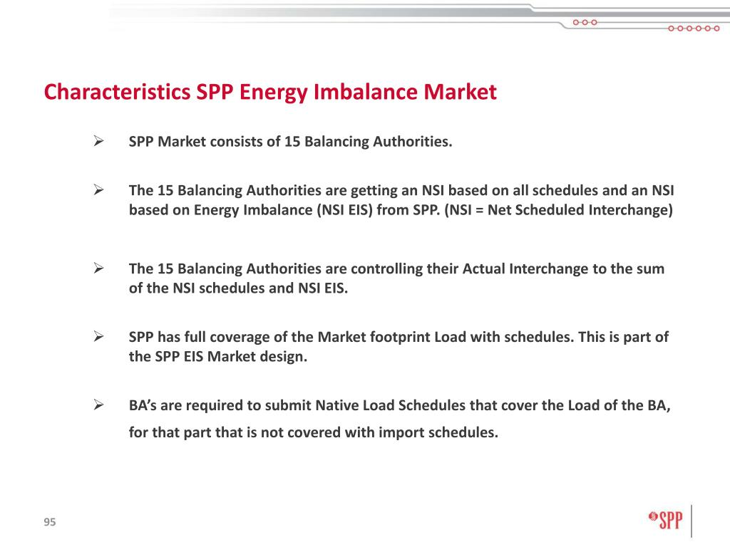 Characteristics SPP Energy Imbalance Market