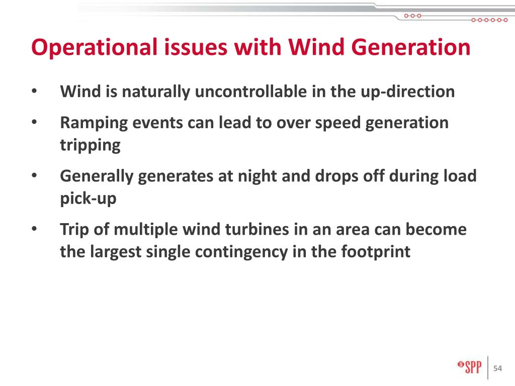 Operational issues with Wind Generation