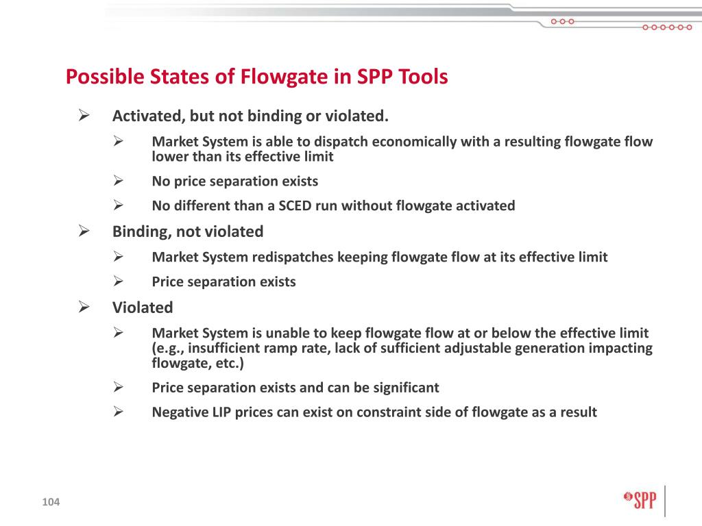 Possible States of Flowgate in SPP Tools