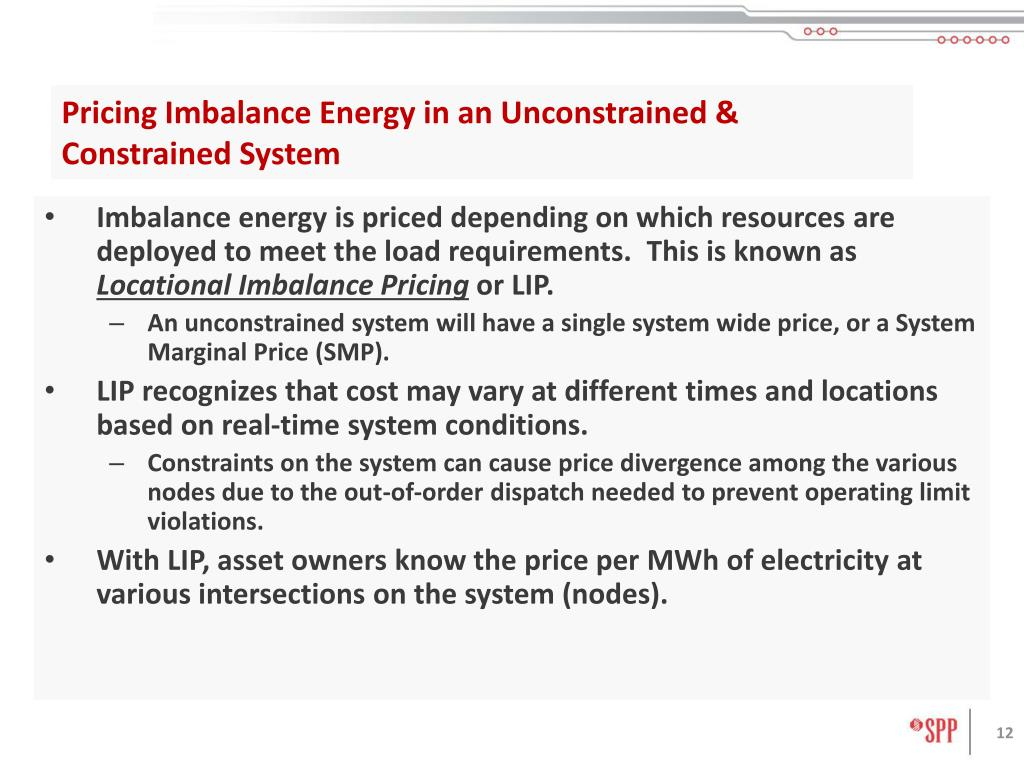 Pricing Imbalance Energy in an Unconstrained & Constrained System