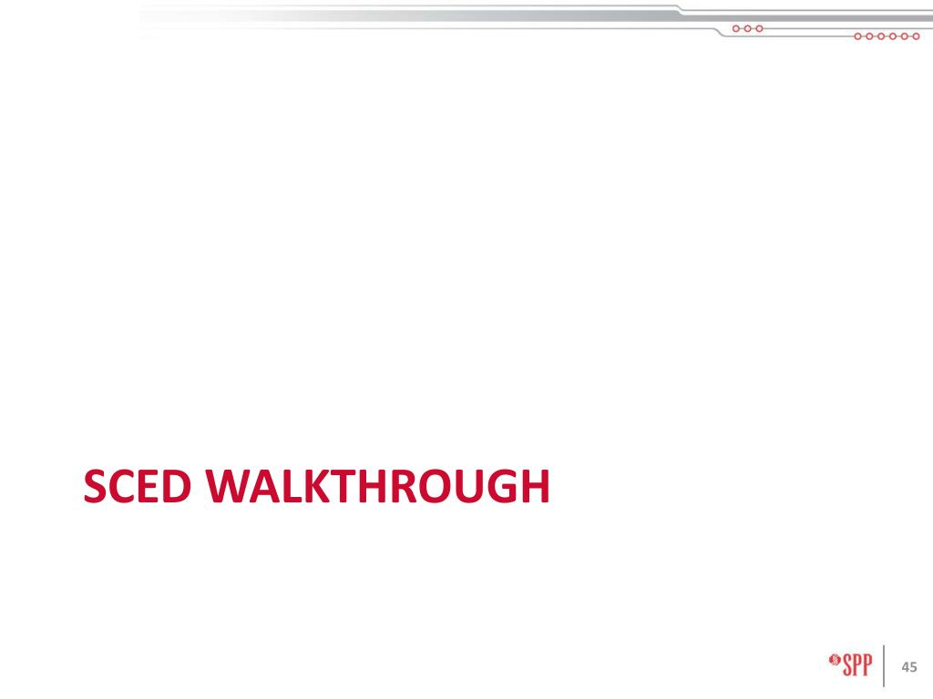 SCED walkthrough